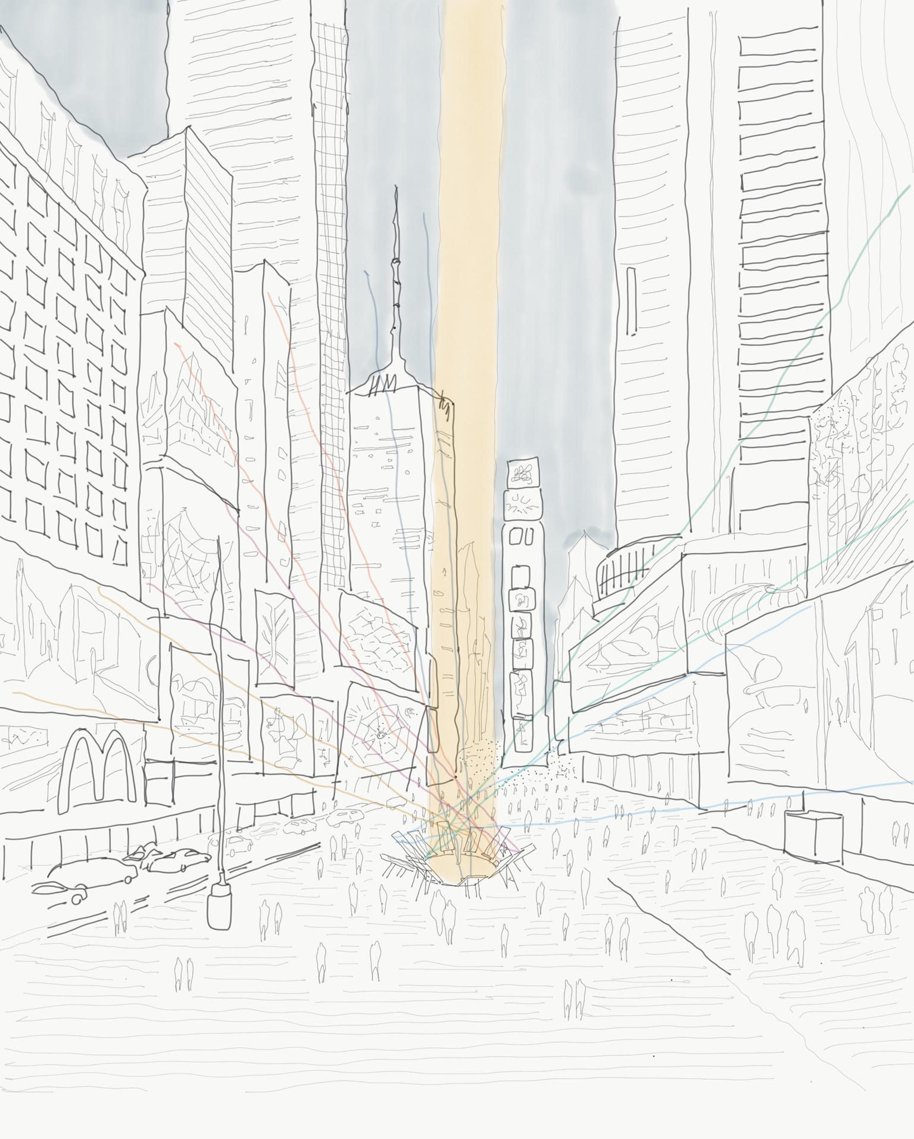 Parenthesis Times Square zU-studio architecture New York Sketch Javier Zubiria